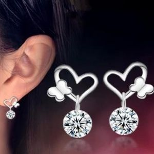 Jewelry - NEW sterling silver butterfly heart earrings